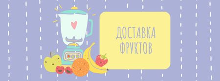 Raw Fruits with Kitchen Blender Facebook cover – шаблон для дизайна