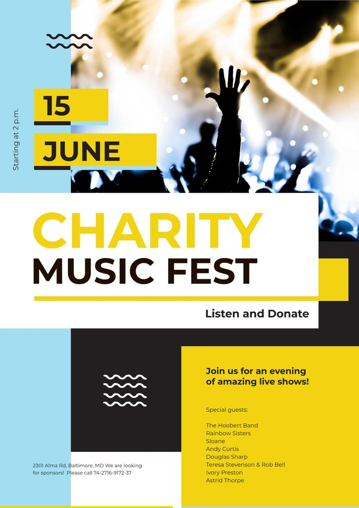 Music Fest Invitation with Crowd at Concert — Create a Design