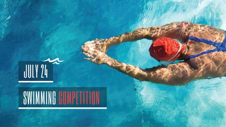 Swimming Competition Announcement with Swimmer in Pool FB event cover Design Template