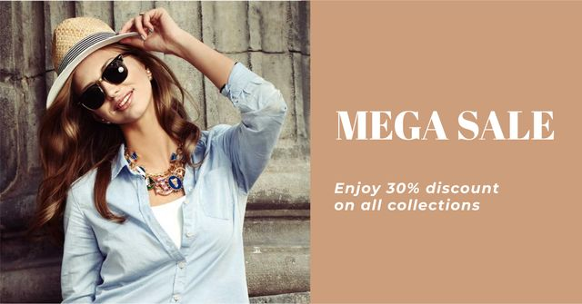 Special Discount Offer with Woman in Summer Outfit Facebook AD Design Template