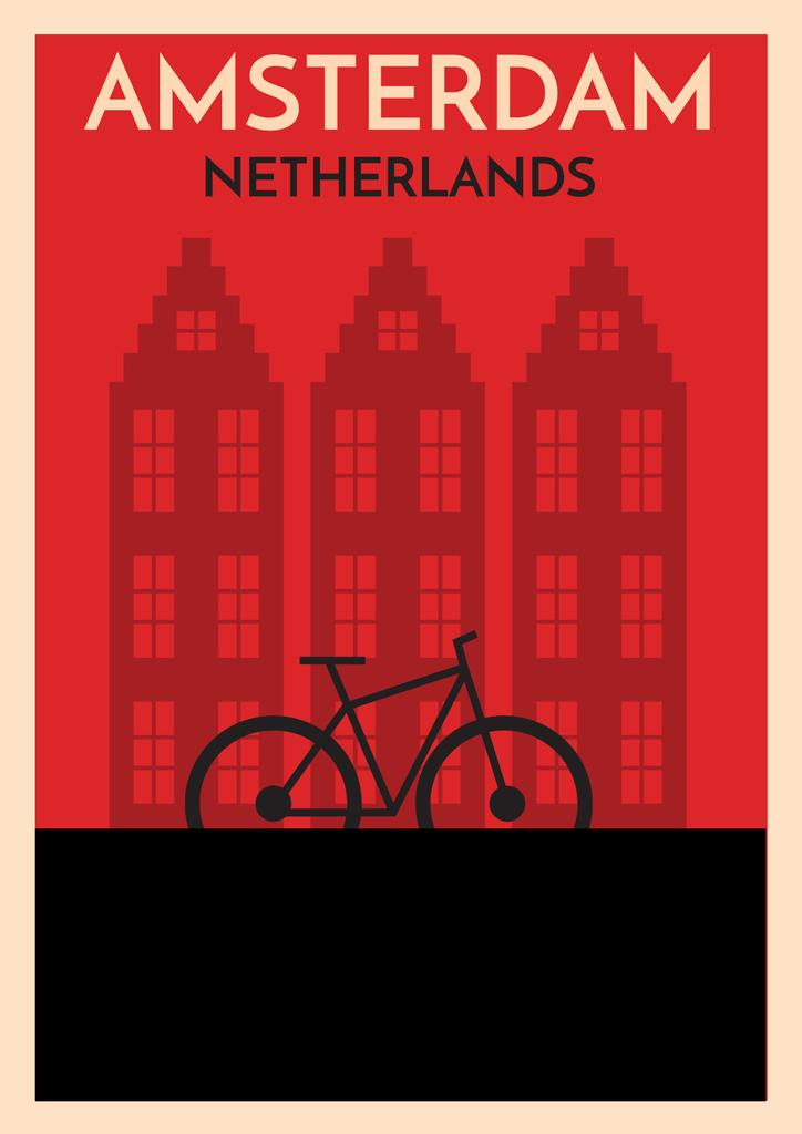 Amsterdam red illustration with bicycle — Create a Design