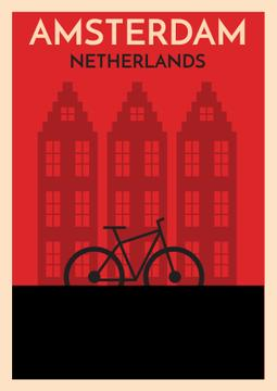 Amsterdam red illustration with bicycle