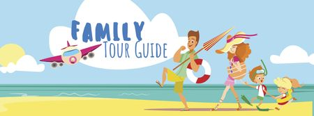 Tour Guide Offer with Funny Family on Beach Facebook cover Modelo de Design