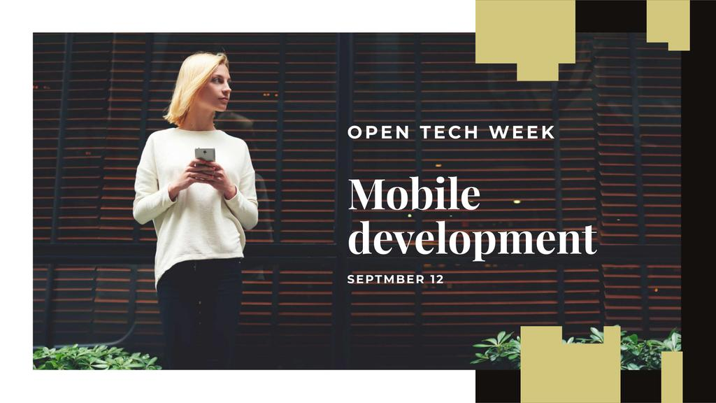 Ontwerpsjabloon van FB event cover van Mobile Development Event with Woman holding Phone