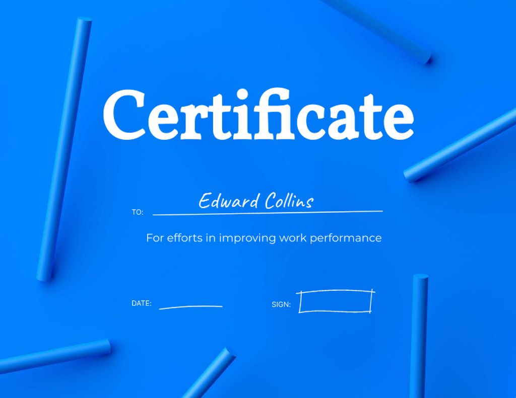 Modèle de visuel Improving Work Performance Award - Certificate