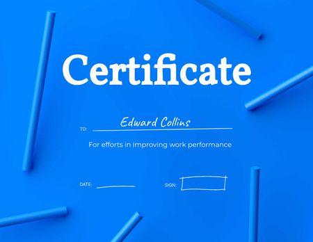 Improving Work Performance Award Certificate Πρότυπο σχεδίασης