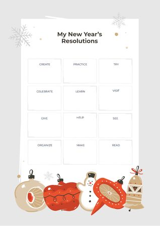 Plantilla de diseño de New Year's Resolutions with Christmas baubles Schedule Planner