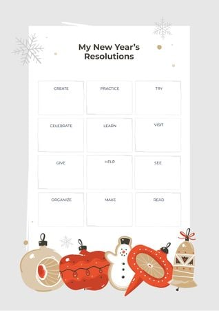 Modèle de visuel New Year's Resolutions with Christmas baubles - Schedule Planner