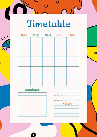 Template di design Lessons Timetable with Bright Pattern Schedule Planner