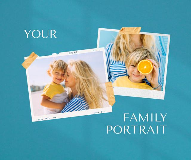 Happy Mom holding Little Son Facebook Design Template