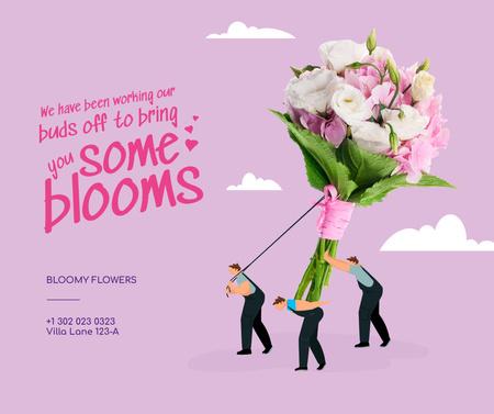 Modèle de visuel Flowers Store Offer with People pulling Huge Bouquet - Facebook