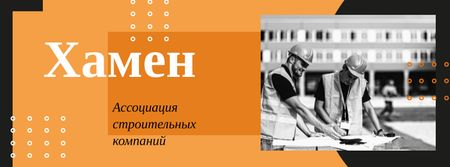 Team of architects working with blueprints Facebook cover – шаблон для дизайна
