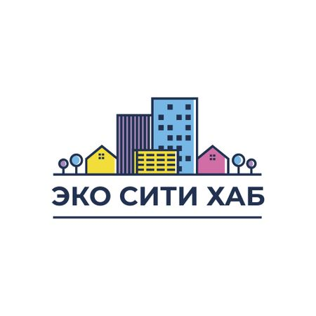 City Hub Buildings on Street Logo – шаблон для дизайна