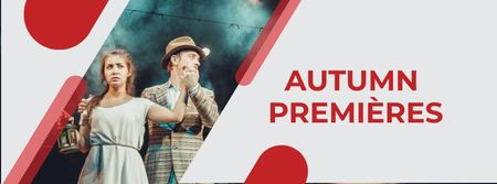 Autumn Theatre Premieres Announcement Facebook cover Modelo de Design
