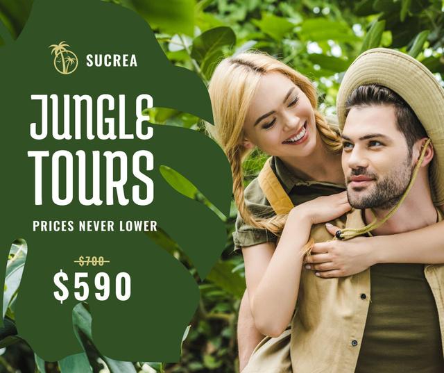 Ontwerpsjabloon van Facebook van Travel Tour Offer couple in Jungle