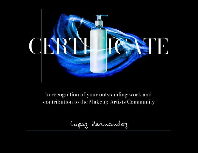 Beauty Course Completion Award with Cosmetic Jar Certificate Design Template
