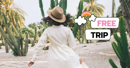 Template di design Trip offer with Woman in Straw Hat Facebook AD