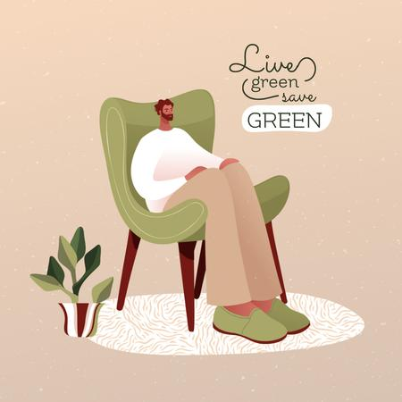 Green Lifestyle Concept with Man sitting in Wooden Armchair Instagramデザインテンプレート