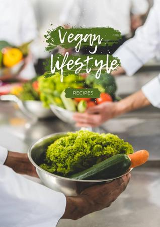 Vegan Lifestyle Concept with Delicious Cake Poster Design Template