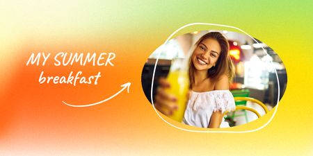 Young Woman holding Summer Smoothie Twitter Design Template