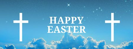 Easter Greeting with Crosses in Heaven Facebook cover – шаблон для дизайна