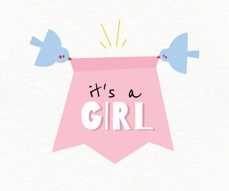 Designvorlage Baby Shower Announcement with Cute Birds für Facebook