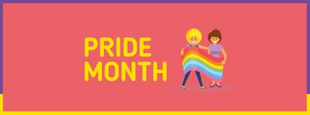 Modèle de visuel Pride Month Announcement with LGBT Couple holding Flag - Facebook cover