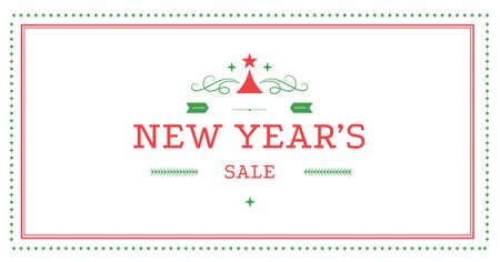 Ontwerpsjabloon van Facebook AD van New Year's Sale in Red Frame