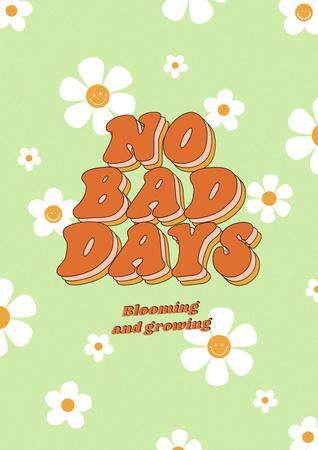 Plantilla de diseño de Inspirational Phrase with Cute Daisy Flowers Poster