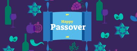 Passover Greeting with Wine and Fruits Facebook cover – шаблон для дизайну