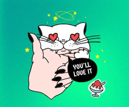 Cute Cat with Hearts Eyes Medium Rectangle Modelo de Design