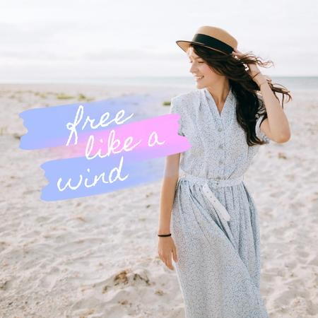 Template di design Happy Girl walking at the Beach Animated Post