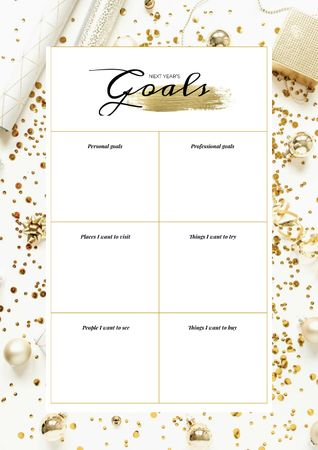 Plantilla de diseño de New Year's Goals list on golden glitter Schedule Planner