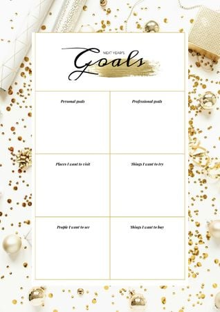 New Year's Goals list on golden glitter Schedule Plannerデザインテンプレート