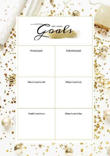 New Year's Goals list on golden glitter Schedule Planner Design Template