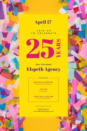 Plantilla de diseño de Anniversary Celebration with Confetti Pinterest