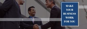 business people shaking hands with motivational quote