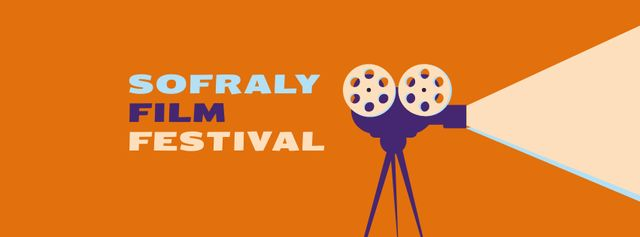 Film Festival Announcement with Vintage Projector Facebook cover Design Template