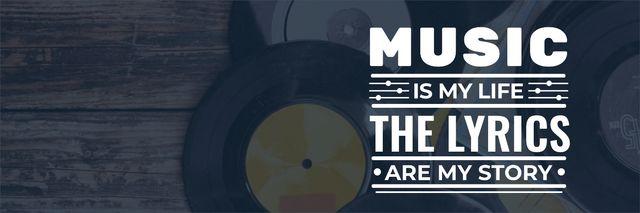 Vinyl records with inspirational inscription Twitter – шаблон для дизайна