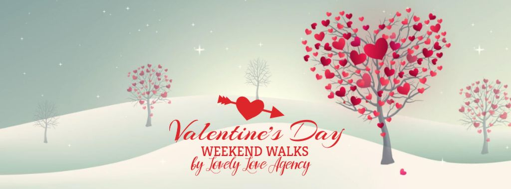 Valentine's Day Trees with red Hearts — Створити дизайн