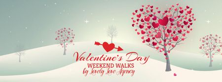 Plantilla de diseño de Valentine's Day Trees with red Hearts Facebook Video cover