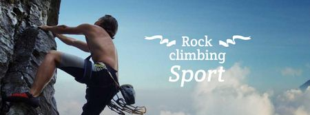 Rock Climbing Sport Ad with Climber Facebook coverデザインテンプレート