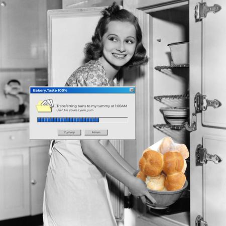 Designvorlage Funny Joke with Woman holding Bowl of Buns für Instagram