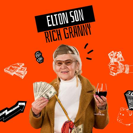 Template di design Funny Granny holding Dollars and Wine Album Cover