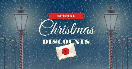 Christmas Discounts Offer with Lanterns Facebook AD Modelo de Design