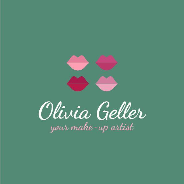 Make-Up Artist Promotion with Lip Prints in Pink Logo – шаблон для дизайна