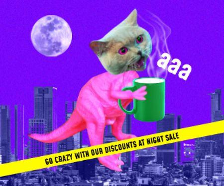 Platilla de diseño Funny Illustration of Dinosaur with Cat's Head Large Rectangle
