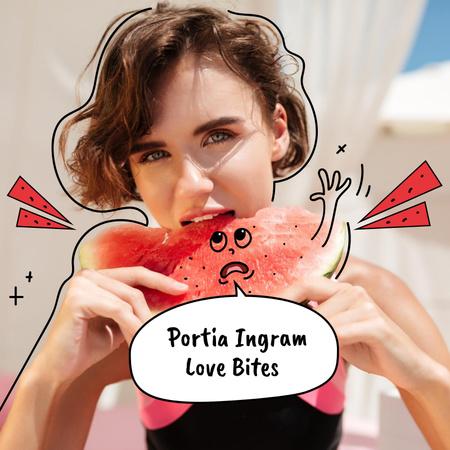 Beautiful Woman eating Watermelon Album Coverデザインテンプレート