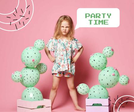 Plantilla de diseño de Party Announcement with Cute Little Girl Facebook