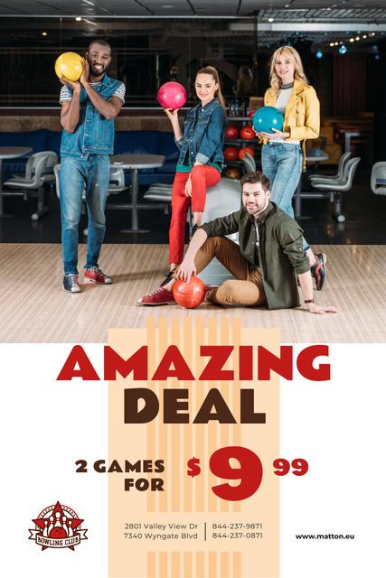 Bowling Offer with Couples holding Balls Pinterest – шаблон для дизайну
